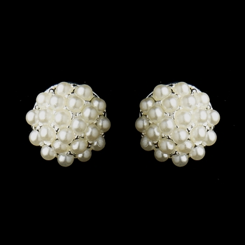 Silver White Pearl Ball Bridal Earrings 20178