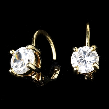 Gold Lever Back Cubic Zirconia Solitaire Earrings E 6000 * Discontinued *