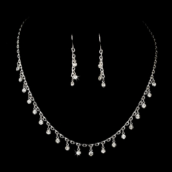 Necklace Earring Set 70248 Silver Clear