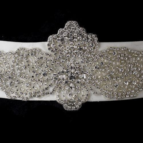 Rhinestone & Glass Bead Sheer Organza Floral Belt 291