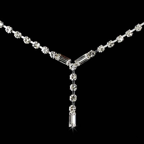 Lovely Silver Clear Rhinestone Necklace & Earring Set 312