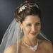 Silver Clear Princess Cut Rhinestone & Austrian Crystal Bead Floral Leaf Triple Side Accented Headband Headpiece 9991