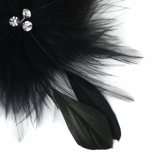 Bridal Crystal Black Feather Fascinator Clip 442 with Brooch Pin