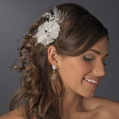 * Fabulous White Feather Bridal Comb or Clip w/ Rhinestones & Swarovski Crystals 8990