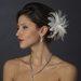 Feather Pearl & Austrian Crystal Flower Bridal Hair Clip 2581 with Brooch Pin