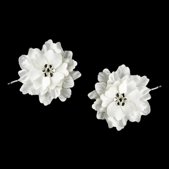 White w/ Clear Crystal Flower Accents on Delphinium Flower Bobby Hair Pin 906 (Set of 2)