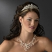 Dramatic Silver Clear Crystal & Ivory Freshwater Pearl Necklace & Earring Set 9784