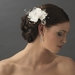 * Delicate White Flower Hair Comb w/ Swarovski Crystals & Clear Rhinestones 8420