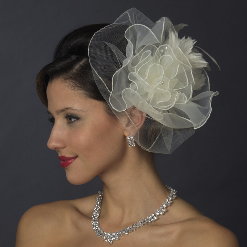 Ivory Flower Hair Clip Wedding: * Silver Ivory Feather Fascinator Hair Clip 1141