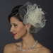 * Silver Ivory Feather Fascinator Hair Clip 1141