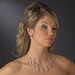 Silver Clear Necklace Earring Set 71562