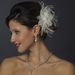 * Crystal & Freshwater Pearl Feather Bridal Flower Hair Clip 5286