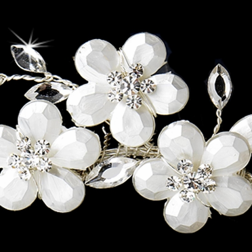 Romantic Silver White Floral Bridal Comb 8309