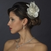 Ivory Pearl & Rhinestone Lace & Mesh Bridal Flower Hair Clip with Brooch Pin 485