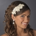 * Ivory White Sequin Flower Headband Headpiece 4021