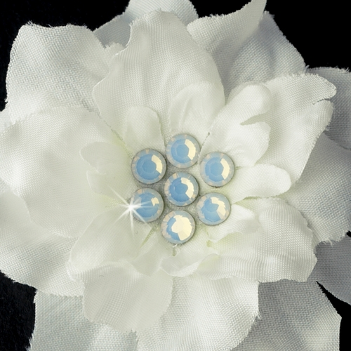 Diamond White w/ Opal Crystal Flower Accents on Delphinium Flower Bobby Hair Pin 906 (Set of 2)