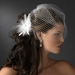 Bridal Crystal Feather Fascinator Clip 442 with Brooch Pin ( Ivory White Red Black or Cafe )