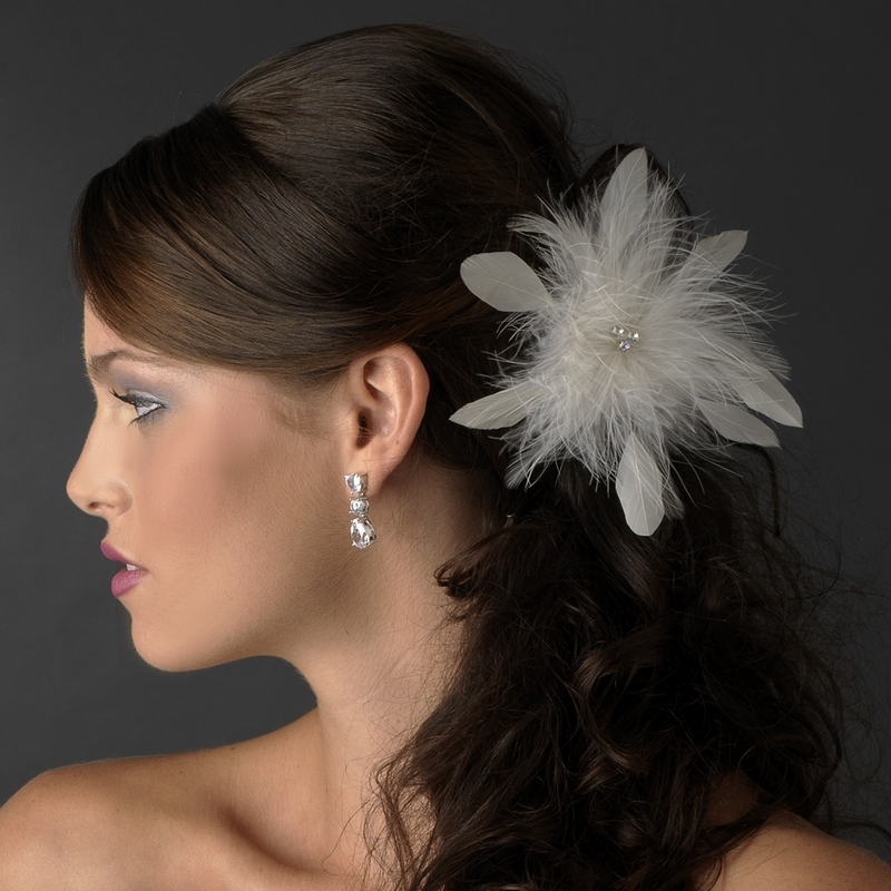 659512ebb Bridal Crystal Feather Fascinator Clip 442 with Brooch Pin ( Ivory White Red  Black or Cafe )