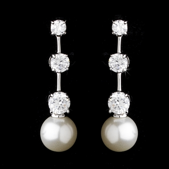 * E 3956 Three Stone Cubic Zirconia and Pearl Earring