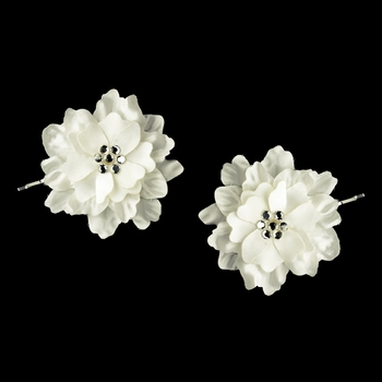 Ivory w/ Clear Crystal Flower Accents on Delphinium Flower Bobby Hair Pin 906 (Set of 2)