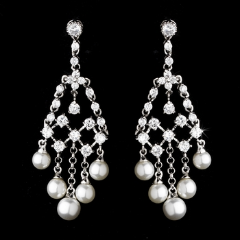 Fabulous Silver Clear CZ Chandelier Earrings w/ Pearls 2948