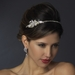 Antique Rhodium Ivory Pearl & Clear Rhinestone Side Accented Headband Headpiece 9990