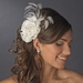 Precious Ivory or White Lace Flower Hair Comb w/ Rhinestones & Feathers 8993