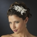 Antique Silver Ivory Pearl & Clear Rhinestone Floral Feather Fabric Side Accented Bridal Feather Headband Headpiece 1655