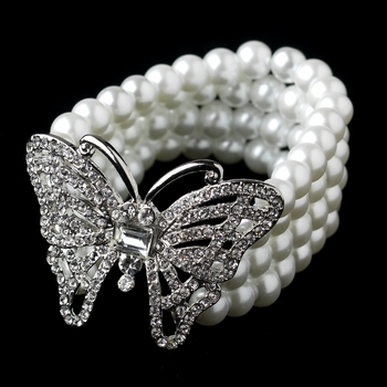 Antique Silver White Pearl Stretch Butterfly Bracelet 81788***Discontinued***