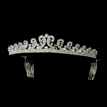 Silver Clear Rhinestone Kate Middleton Inspired Bridal Tiara Comb Headpiece 60377