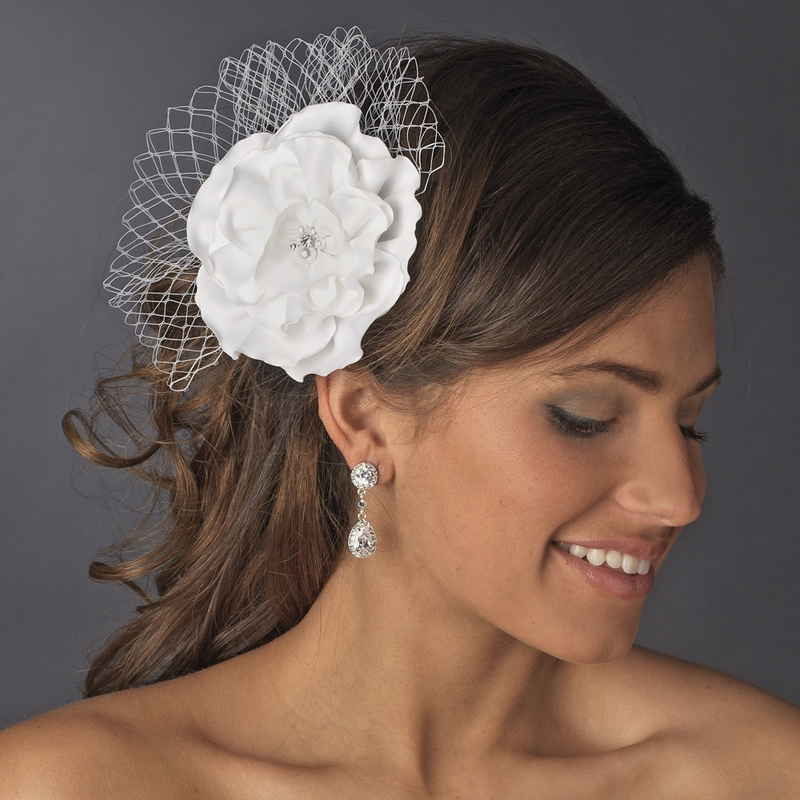 Bridal Hair Flower with Russian Veil Accent Clip 477 (White or Ivory)