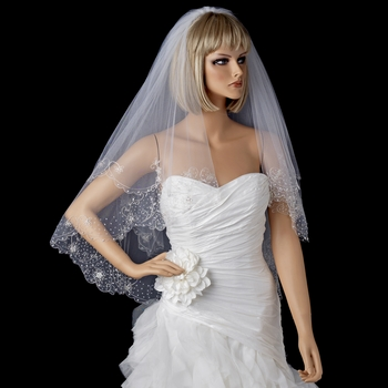 "2 Layer Fingertip Length, Beaded & Embroidered Edge Veil 2943 (30"" x 36"" long x 72"" wide )"