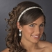 * White Beaded Sequin Fabric Headband Headpiece 2208