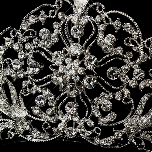 Antique Silver Rhodium Clear Rhinestone Bridal Royal Tiara 18689