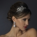 Antique Silver Side Accented Crystal Bridal Flower Headpiece Headpiece 924