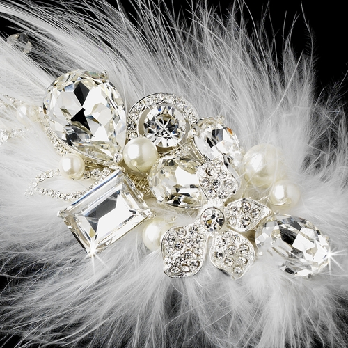 * Extraordinary White or Ivory Feather & Clear Rhinestone Bridal Hair Clip 5282
