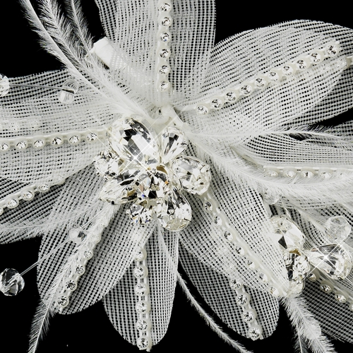 * Silver Ivory Feather, Crystal & Rhinestone Flower Hair Clip 2664
