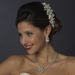Silver Cubic Zirconia & Pearl Necklace Earring Set 1270