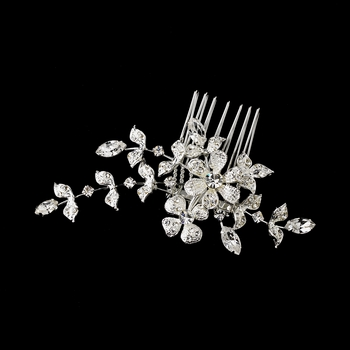 Floral Vine Crystal Bridal Comb 11145 with Brooch Converter  * 2 Left *