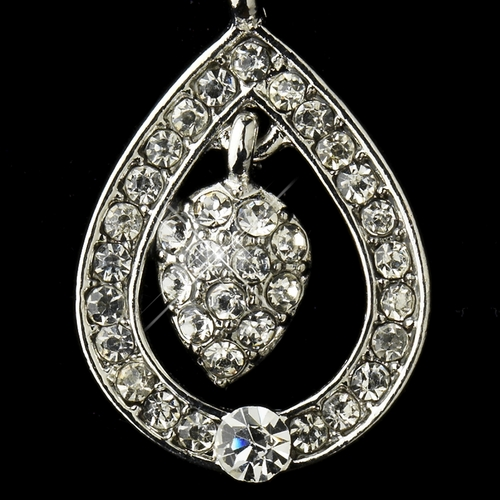 Antique Silver Clear Kate Middleton Inspired Tear Drop Acorn Earrings 22325