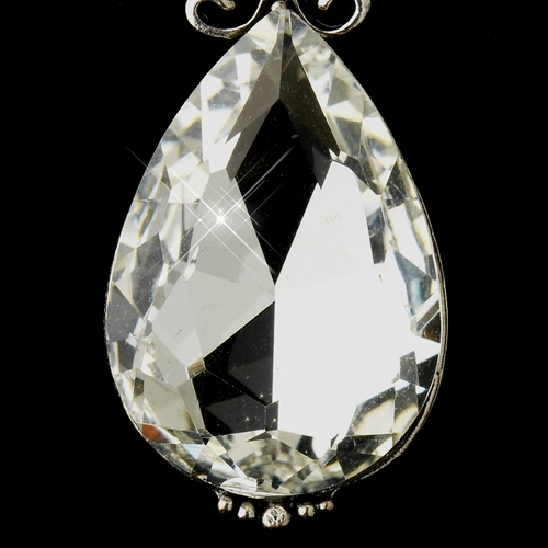 Antique Silver Clear Tear Drop Rhinestone Earrings 22246