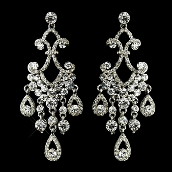 Antique Silver Clear Rhinestone Dangle Chandelier Earrings 8693 **Discontinued**
