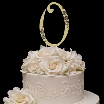 French Flower ~ Swarovski Crystal Wedding Cake Topper ~ Gold Number 0