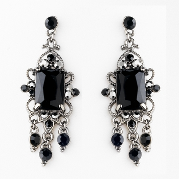 Vintage Silver & Black Crystal Drop Earrings E 936 ( Only 1 Piece In Stock )