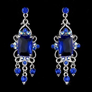 Vintage Silver & Blue Crystal Drop Earrings E 936***Discontinued***