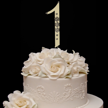 French Flower ~ Swarovski Crystal Wedding Cake Topper ~ Gold Number 1