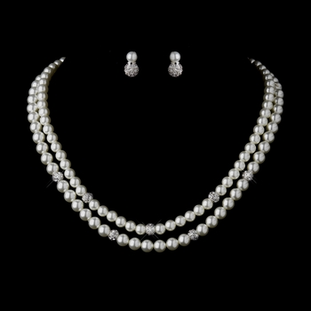 Silver Ivory Pearl Necklace 8760 & Earrings 8761 Bridal Jewelry Set