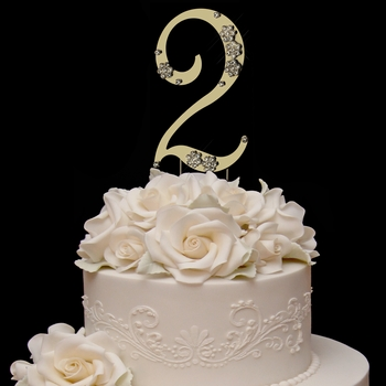 French Flower ~ Swarovski Crystal Wedding Cake Topper ~ Gold Number 2