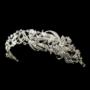 Silver Clear Swarovski Crystal Bead & Rhinestone Side Accented Headband Headpiece 9629
