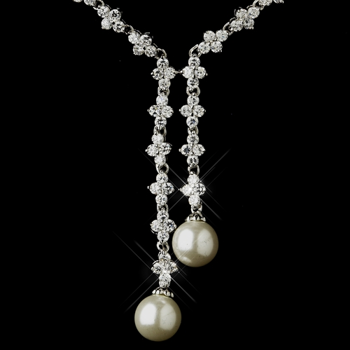 Antique Silver Ivory Pearl & Clear CZ Crystal Double Drop Necklace 9017 & Earrings 3093 Bridal Jewelry Set